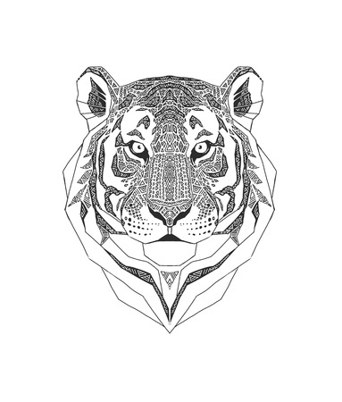 b866f2a9a Tiger head isolated on white background, Wild Animal stylized portrait.  tribal style. Black