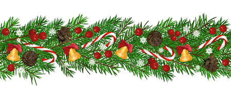 Illustration pour Seamless Background with realistic green fir tree branch, bell and christmas berries. Place for text, congratulation. Christmas, New Year symbol. Art vector illustration - image libre de droit