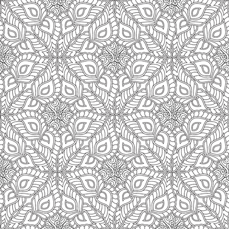 Illustration for Abstract geometry ornament seamless pattern isolated on white background. Coloring book for adult and older children. Art vector illustration. - Royalty Free Image