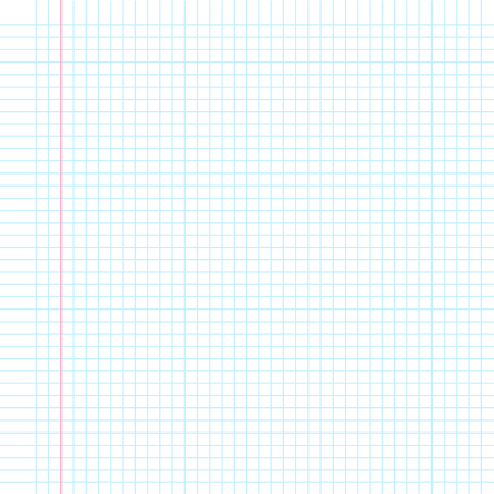 Illustration pour A sheet of white paper in a cage with the left margin. Classical note for study. - image libre de droit