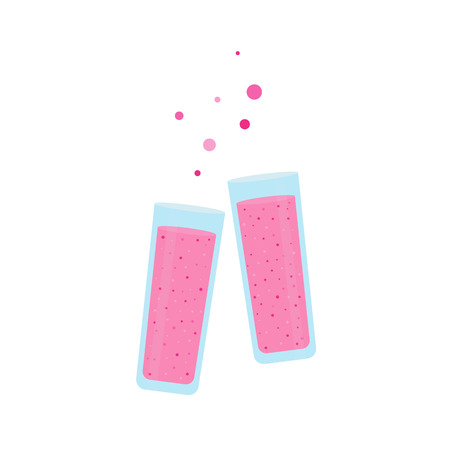 Two glasses clinking  with a pink berries smoothies  with a decorative bubbles on a white isolated background. Illustration in simple flat style.