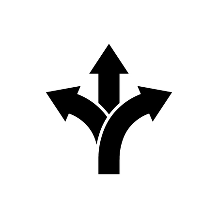 Illustration pour Three-way direction arrow icon in flat style. Road direction symbol isolated on white background Simple choice icon in black Vector illustration for graphic design, Web, UI, mobile upp - image libre de droit