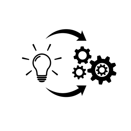 Illustration pour Light bulb with gear and circulating arrows icon - image libre de droit