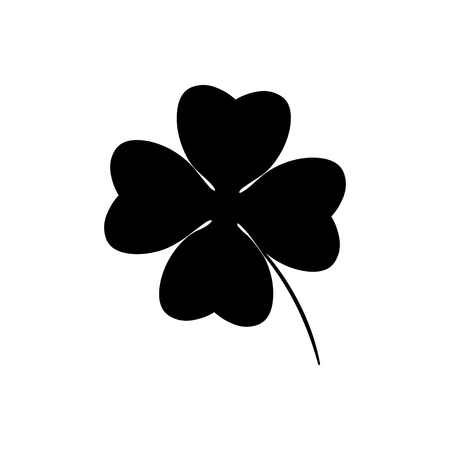 Illustration pour Four leaf clover icon in black. Herb Isolated on white background. St Patrick day symbol in flat style. Vector illustration for graphic design, Web, UI, app - image libre de droit