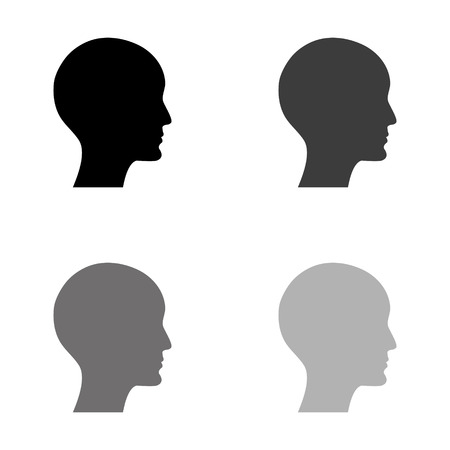 Illustration for human profile picture - black vector icon - Royalty Free Image