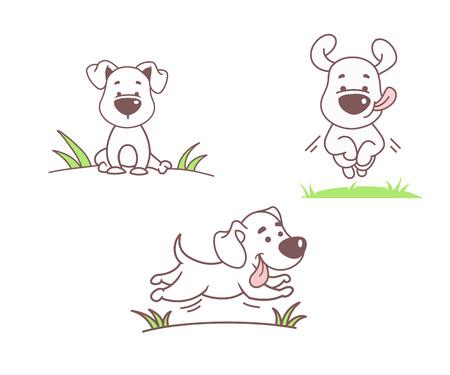 Illustration pour Set of funny dogs, vector illustration - image libre de droit