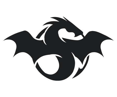 Illustration for silhouette of black big dragon isolated on white background, vector illustration - Royalty Free Image