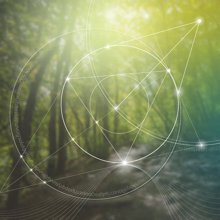 Illustration for Sacred geometry. Mathematics, nature, and spirituality in nature. The formula of nature. There is no beginning and no end of the Universe, and no beginning and no end of the Life and the Bliss. - Royalty Free Image