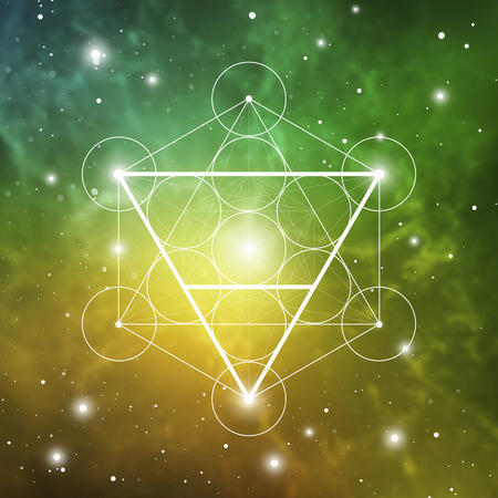 Earth element symbol inside Metatron Cube and Flower of Life in front of outer space cosmic background. Sacred geometry magic sign futuristic vector design.