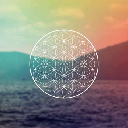 Illustration pour Flower of life sacred geometry illustration with intelocking circles and light dots in front of photographic background. Hipster tree of life sci fi art - image libre de droit