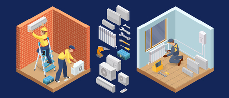 Illustration pour Conditioner service. Heating service. Isometric interior repairs concept. Worker and equipment icon. Builder in uniform, professional tools, radiators. Home interior renovation. Vector flat 3d illustration. - image libre de droit