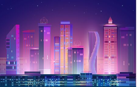 Illustration for Night city panorama with neon glow on purple background. Vector. - Royalty Free Image