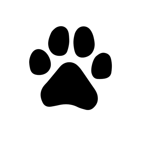 Ilustración de Paw Prints. Logo. Vector Illustration. Isolated vector Illustration. Black on White background. EPS Illustration. - Imagen libre de derechos