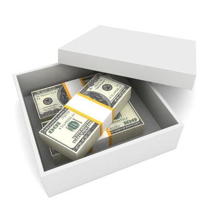 100 dollar bills in present cardboard with cover on white background. Business finance concept of money making