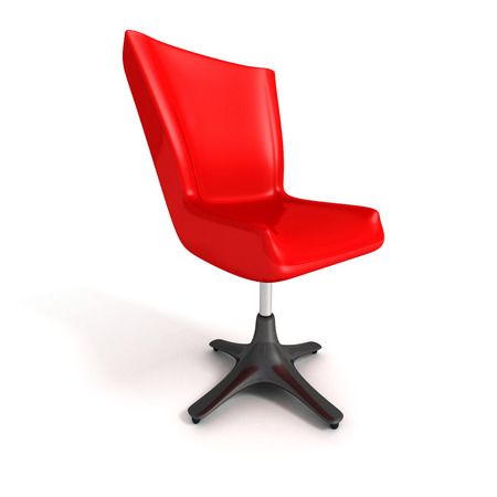 Red office chair over white background. 3d render illustration