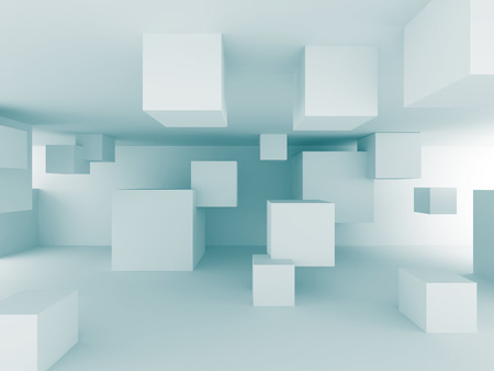 Abstract Chaotic Cubes Construction Design Background. 3d Render Illustration