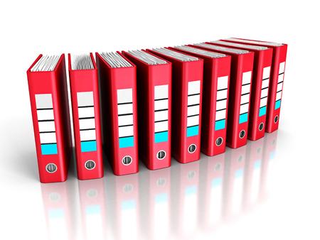 Red Ring Binder Folders on White Background. 3d Render Illustration
