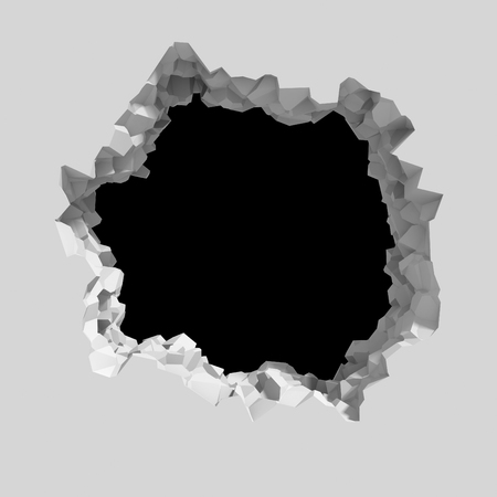 Explosion broken white wall with cracked hole. Abstract background. 3d render illustration
