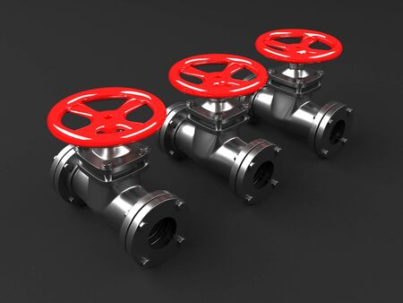 Photo pour Industrial pipelines and valves with red wheels. 3d render - image libre de droit
