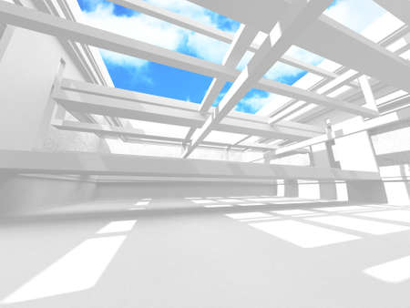 Photo pour Empty white architecture with sky view. 3d render - image libre de droit