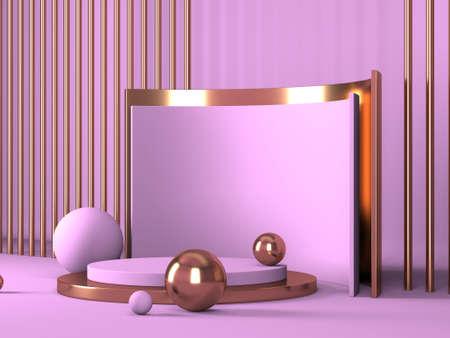 Foto de Abstract minimal scene with geometrical forms. Pink cream background. 3d render - Imagen libre de derechos