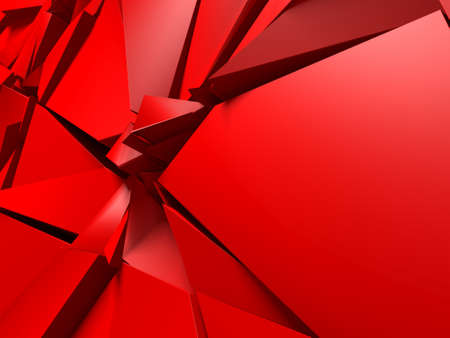 Red triangle poligon chaotic pattern wall background. 3d render illustrationの素材 [FY310161944569]
