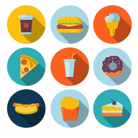Foto de Set of fastfood flat icons - Imagen libre de derechos