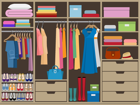 Ilustración de Wardrobe room full of woman's cloths. Flat style vector illustration. - Imagen libre de derechos