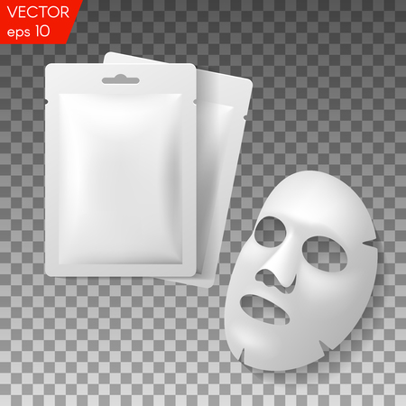 Illustration for Facial Mask Cosmetics Packaging. Package design for face mask on transparent background - Royalty Free Image