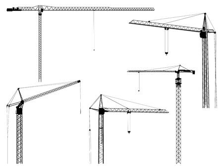 Ilustración de Set of silhouettes of construction crane tower, isolated on white  - Imagen libre de derechos