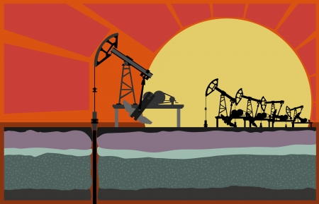Oil pumping unit against sunset, with cut of soil (Vector illustration).