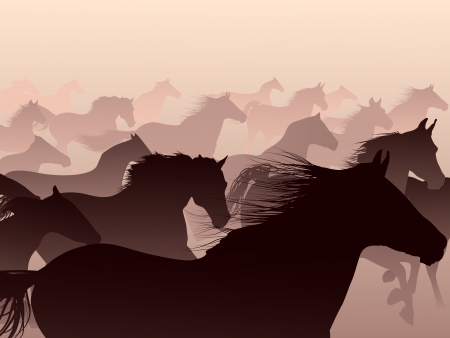 Herd of horses skipping in a smoke