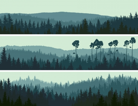 Illustration pour Horizontal abstract banners of hills of coniferous wood in dark green tone. - image libre de droit