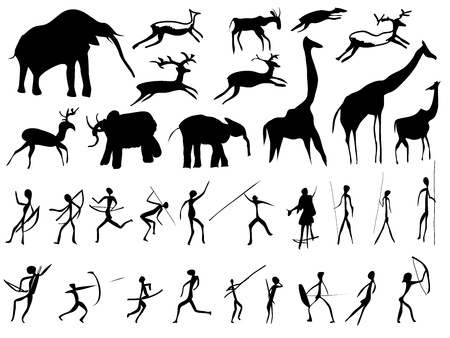 Set of pictures of people and animals in the prehistoric period (petroglyphic painting).