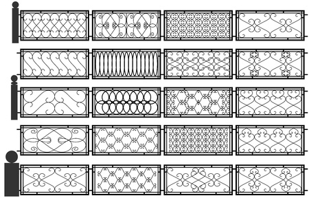 Vector set of silhouettes of iron fences.