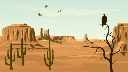 Horizontal cartoon illustration of prairie wild west with cacti and birds of prey