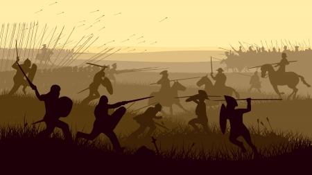 Horizontal vector illustration of battle fighting swordsmen, spearmen and cavalry in the battle field.