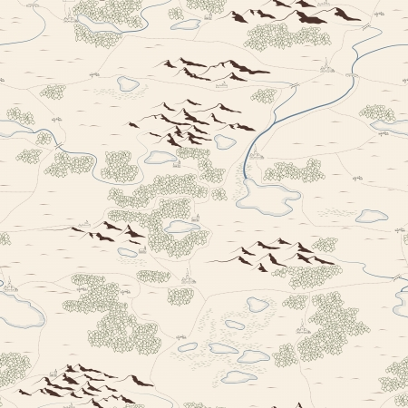 Seamless background of artistic drawed map with forests, lakes, rivers, mountains, hills, cities.