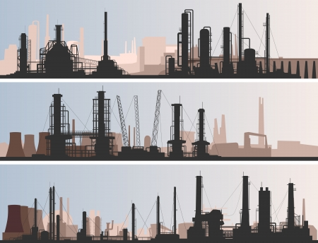 Illustration pour abstract horizontal banner: industrial part of city with factories, refineries and power plants. - image libre de droit