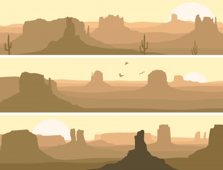 abstract horizontal banner: prairie wild west with cacti and birds of prey.