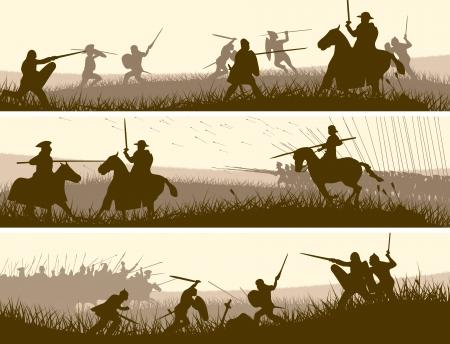 Horizontal vector banners of battle fighting swordsmen, spearmen and cavalry in the battle field.