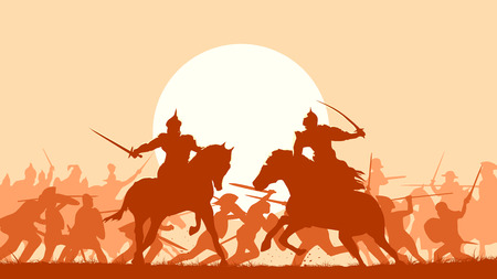 Horizontal vector illustration fight between two warriors on background of battle at sunset.