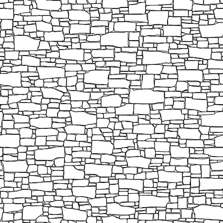 Photo pour Seamless vector black and white background of stone wall ancient building with different shapes bricks (drawn by ink). - image libre de droit