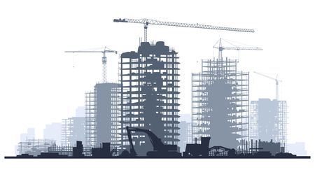 Ilustración de Line of silhouettes illustration of construction site with cranes and skyscraper with tractors, bulldozers, excavators and grader in blue tone. - Imagen libre de derechos