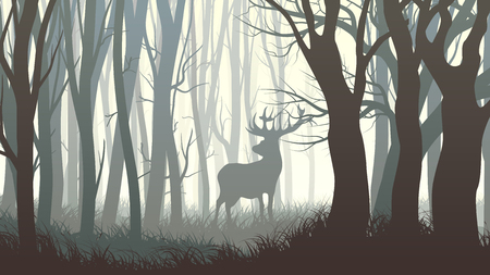 Illustration pour Vector horizontal illustration of dark forest with wild elk in forest. - image libre de droit