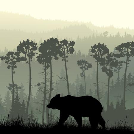 Ilustración de Square illustration of grassy hillside and coniferous wood with bear. - Imagen libre de derechos
