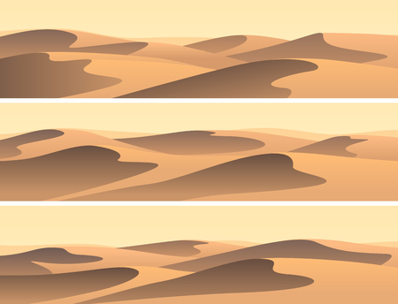 Illustration pour Set of horizontal banners sandy desert barchans. - image libre de droit