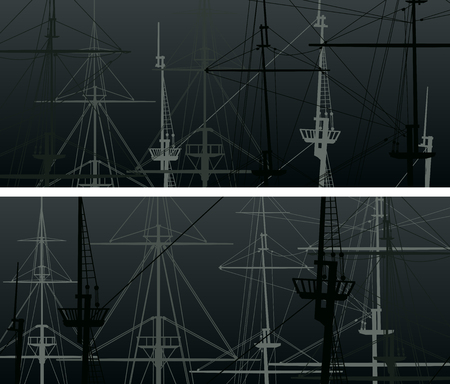 Set of horizontal abstract banners with masts and sailyards of sailing ships in black.
