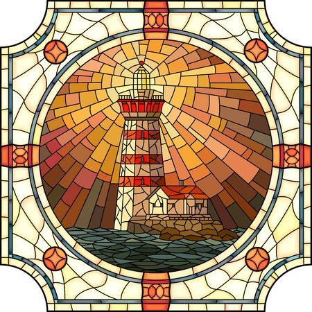 Illustration pour mosaic with large cells of lighthouse with rays of light at sunset in round stained-glass window frame. - image libre de droit