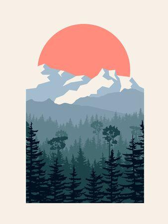 Illustration pour Vertical vector illustration of coniferous forest with mountains and sun in passepartout. - image libre de droit